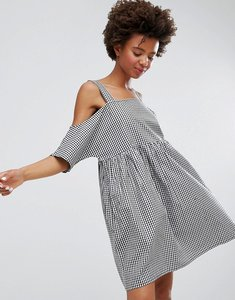 Read more about Monki gingham cold shoulder smock dress - gingham