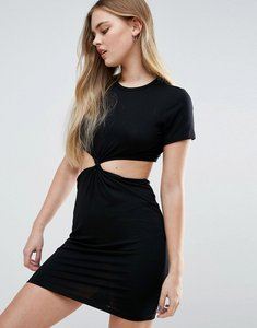 Read more about Asos twist front mini bodycon dress with cut out - black