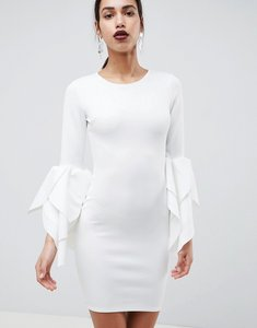 Read more about Club l sleeve detail scuba bodycon dress - white