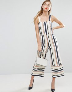 Read more about Asos pinny jumpsuit in stripe - multi