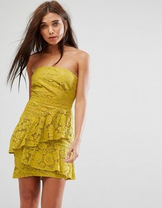 Read more about Missguided lace bandeau midi dress - yellow