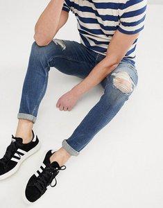 Read more about Hollister superskinny distressed repair jeans in dark wash - dark wash