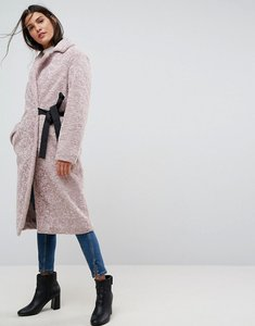 Read more about Asos longline faux fur coat with side belt detail - lilac
