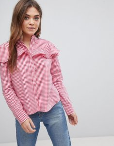 Read more about After market gingham ruffle top - gingham red