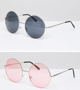 Read more about 7x 2 pack coloured lens round sunglasses - black pink