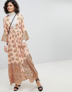 Read more about Vero moda floral ruffle maxi dress - rose tan