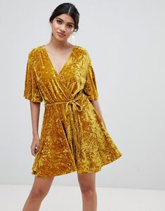 Read more about Glamorous velvet wrap dress - acid yellow velvet