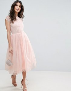 Read more about Asos premium lace tulle midi prom dress - nude