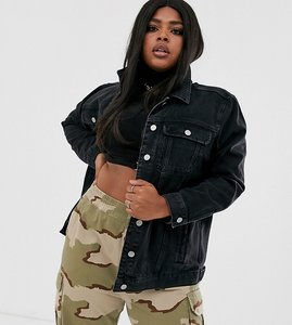 Read more about Asos design curve denim girlfriend jacket in washed black - black