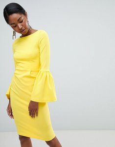 Read more about Club l pencil dress with extreme frill sleeve - yellow