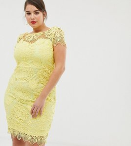Read more about Paper dolls plus cap sleeve sweetheart detail all over crochet lace pencil dress - yellow