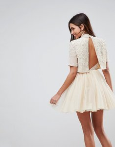 Read more about Asos embellished tulle cut out back mini dress - cream