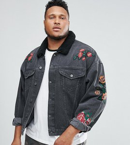 Read more about Asos plus denim jacket with embroidery borg collar in black wash - black