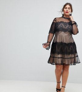 Read more about Asos curve lace dobby patchwork long sleeve mini dress - black nude