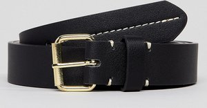 Read more about Asos plus smart slim faux leather belt in black with contrast stitch detail - black