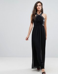 Read more about Bcbg faux leather eyelet cross strap maxi dress - black 001