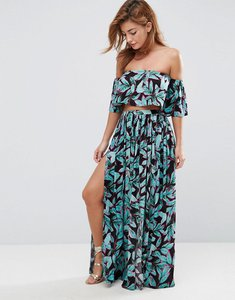 Read more about Asos beach co ord maxi skirt in tropical pop print - tropical pop