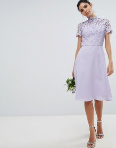 Read more about Chi chi london 2 in 1 high neck midi dress with crochet lace - lavender grey