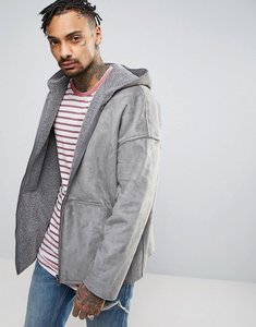 Read more about Asos faux shearling reversible hooded jacket in grey - grey