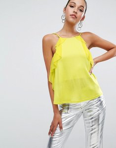 Read more about Asos square neck cami in crepe with woven ruffle detail - chartreuse