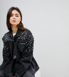 Read more about Chorus tall pearl embellished oversized denim jacket - black
