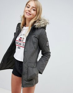 Read more about Brave soul padded parka with faux fur trim hood - khaki