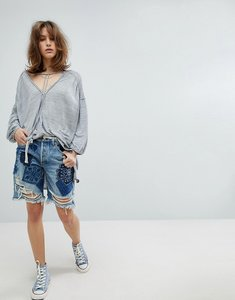Read more about Free people heart breaker patched and embroidered shorts - blue