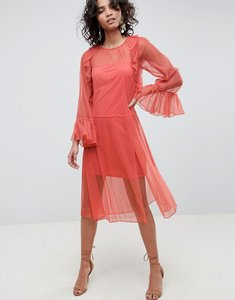 Read more about Asos design flute sleeve midi dress in sheer dobby mesh - rust