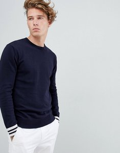 Read more about French connection crew neck knitted jumper with contrast cuff - navy