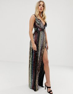 Read more about Club l striped sequin maxi dress with side split