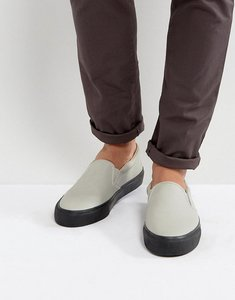 Read more about Asos slip on plimsolls in grey with chunky black sole - grey