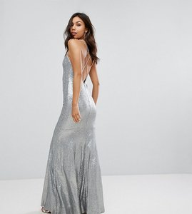 Read more about Tfnc allover sequin maxi dress with strappy back - silver