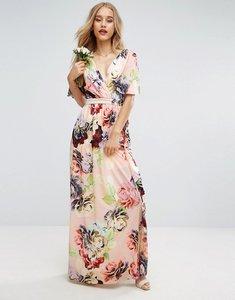 Read more about Asos wedding print soft flutter sleeve maxi dress - multi