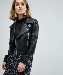 Read more about Vero moda leather biker jacket with zip details - black
