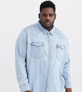 Read more about Levi s big tall classic western denim shirt in red cast stone wash