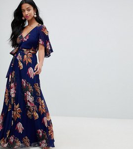 83c71e907f1 Read more about Asos design petite pleated maxi with flutter sleeve in  floral print - multi