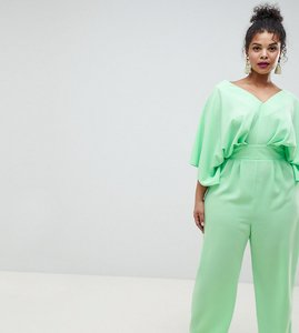 Read more about Asos design curve jumpsuit with kimono sleeve and peg leg - green