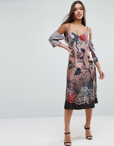 Read more about Asos cold shoulder column dress in winter floral print - multi