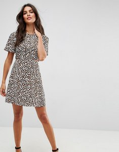 Read more about Asos cut out mini tea dress in leopard - multi