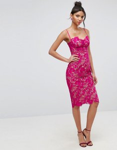 Read more about Asos lace contrast midi pencil dress - hot pink