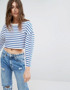 Read more about Bershka stripe balloon sleeve jumper - blue