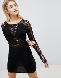 Read more about Asos design bodycon dress in crochet with long sleeve - black