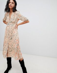 Read more about Ba sh printed tea midi dress - apricot