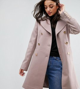 Read more about Asos tall swing coat with military style buttons - mink