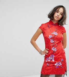 Read more about Reclaimed vintage inspired high neck dress in brocade with floral embroidery - red