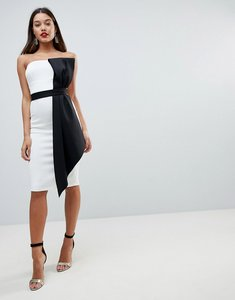 Read more about Asos mono bow front bandeau midi bodycon dress - mono