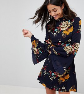 Read more about Parisian tall high neck floral printed dress - navy