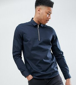 Read more about Asos design tall stretch regular fit overhead half zip shirt in black - black