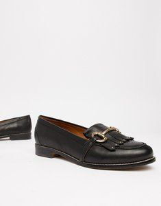 Read more about Office fright black leather fringed loafers - black leather