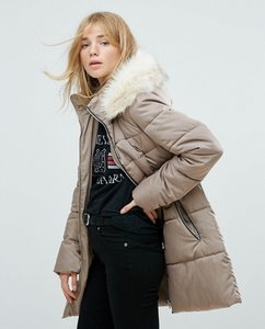 Read more about New look stone padded quilted short coat - stone